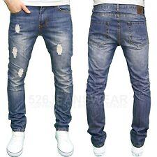 Soulstar Mens DESIGNER Distressed Ripped Slim Fit Straight Leg Jeans Mid Blue 32w 32l