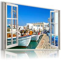"""W416 GREECE 3D Window View Canvas Wall Art Picture Large SIZE 30X20"""""""