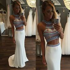 White Hot Sale Two Piece Beading Prom Dresses Evening Party Pageant Formal Gown