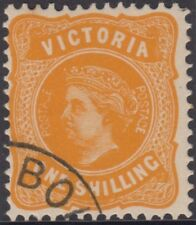 Stamp Victoria 1/- yellow queen sideface cancelled to order, original gum