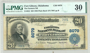 Rare $20 Series 1902 National Banknote Fort Gibson, Oklahoma PMG Very Fine 30