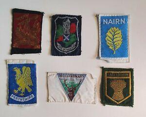6 Vintage Scottish Scout District Blanket Badges