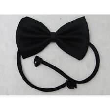Unisex Black Satin Pre Tied High Wedding Groom Party Plain Necktie Bow Tie
