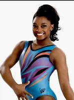 "Simone Biles GK Elite LEOTARD Gymnastics Bodysuit ""BLUE PHOENIX"" Olympic Sz: AXS"