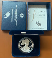 2016-W Proof American Silver Eagle Dollar 1 Oz Box & COA Lettered Edge 30th Ann.