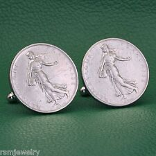 French Walking Liberty Coin Cufflinks, 1 Franc French Republique Francaise Roty