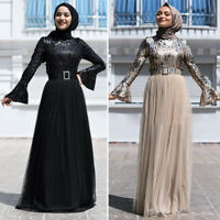 Sequins Abaya Muslim Women Long Maxi Dress Islamic Jilbab Kaftan Party Gown Arab