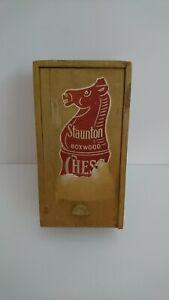 Vintage Staunton Boxwood Chess Pieces In Wooden Box - House Martin - Full Set