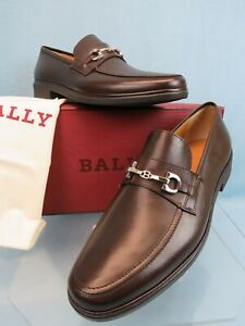 BALLY CADORE CHOCOLATE  LEATHER SILVER METAL BIT LOGO LOAFERS 10.5 D US 43.5