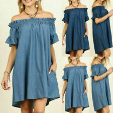 women denim dress short sleeve   S M L Plus Size 2X  Blue  Khaki