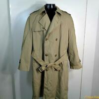 BOTANY 500 USA Long RAINCOAT Rain Trench Coat Mens Size L 44 Khaki