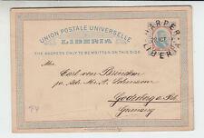 Liberia # X4 1892 Postal Card USED Harper to Godesberg Germany