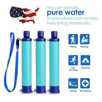 3 Pack Blue Portable Water Filter Straw Purifier Camping Emergency Survival Tool