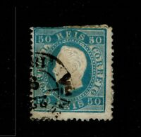 Portugal SC# 43, Used, large page remnant, side thin(s) - S6560