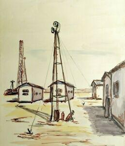 Très Grande aquarelle - Paysage industriel  -  Dessin original