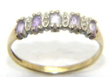 Women's Ladies 9carat 9ct yellow gold diamond & Purple ring UK Size M ½