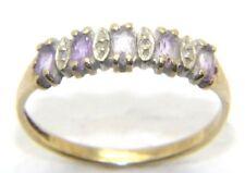 Mujer mujer 9 ct 9 ct oro amarillo diamante & Morado anillo talla M de RU ½
