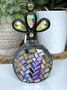 """Decorative Inlaid Mosaic Glass Bottle with Stopper 7 1/8"""""""