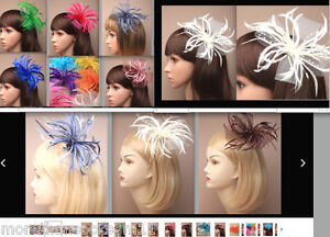 PIN CORSAGE FASCINATOR BEAK CLIP LOOPED NET BOW FEATHER & PEARL &2 IN 1WEDDING