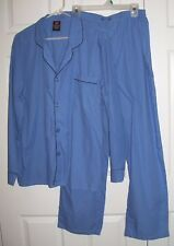 Hanes Men Pajamas L Button Up Long Sleeve 55/45 Cotton/Poly Blue  # 48