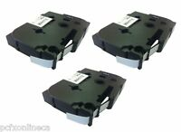 3x Brother Compatible TZ221 P-Touch 9mm Gloss Black on White Tape TZ-221 P Touch