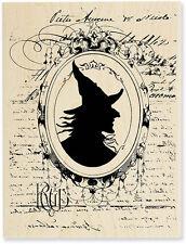 Wicked Witch Mirror Vintage Halloween Silhouette Steampunk Rubber warts stamp