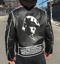 Notorious BIG Hand Painted and Studded Leather Jacket M Biggie Smalls Biker Punk