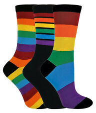 8c4461f16a45 3 Pack Mens Womens Funky Bright Colourful Novelty Striped Cotton Rainbow  Socks