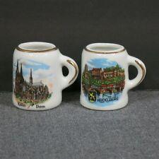 Two Reutter Porzellan Kolm Dom Heidelberg Souvenir Beer Steins Germany Mini Mugs