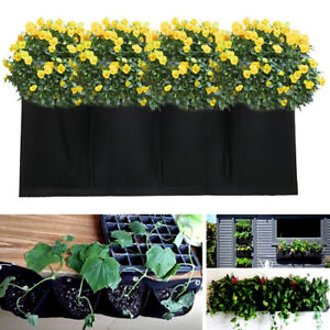 Planting Bag Pockets Vertical Garden Wall Planter Hanging Herbs 4 Pockets
