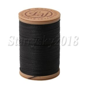 0.55mm Hand-Stitched Leather Sewing Natural Hemp Waxed Thread Cord Ramie Black