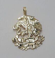 14K Real Yellow Gold Diamond Cut Mexico Mexican Shield Eagle Charm Pendant Dije