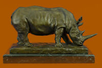 Statue Sculpture Rhinoceros Animalier Style Art Deco Bronze Barye Signed Gift