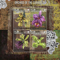 Turks & Caicos 2014 MNH Orchids of Caribbean 4v M/S II Flowers Lady's Slipper