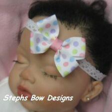 Pastel Dots Dainty Hair Bow Lace Headband 4 Preemie Newborn Toddler Easter Cute