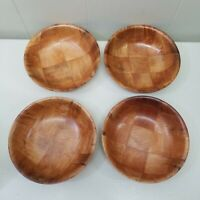 Vintage 8 Inch Wood Woven Salad Bowl Set Of 4 Lightweight
