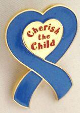 "Metal Blue Ribbon Pin Jewelry Blue 1 1/4"" Cherish the Child"