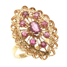 Vintage 14kred Ruby Filigree Ring 1.80 carat navette large yellow gold Estate