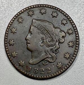 1822 Coronet Head Large 1C Cent N-7 R3+