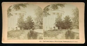 Kilburn Brothers Littleton NH Stereoview Photo Flower Garden White House ~1870s