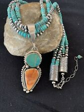Navajo Pearls Royston Turquoise Spiny Sterling Silver Pendant Necklace3S Set518