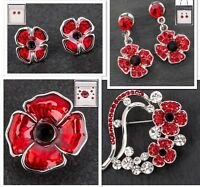 Equilibrium Silver Plated Red Poppy Brooch Earrings Jewellery Boxed
