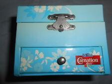 VTG (Nestle Carnation) Blue White Floral Polynesian Hawaiian Design Jewelry Box