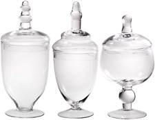 Palais Glassware Clear Glass Apothecary Jars - Set of 3 - Wedding Candy Buffet C