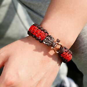Retro Silver Dragon Head Paracord Bangle Vintage Outdoor Hiking Jewelry for Men