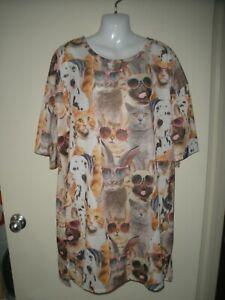 #1044 Misses Nightgown Secret Treasures Cat Kitten Dog Puppies  L XL