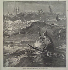 STRIKING THE SURF MADRAS CHENNAI INDIA HARPER'S WEEKLY 1876