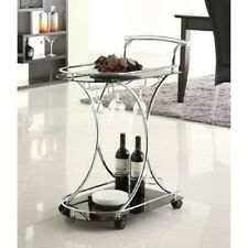 BAR SERVING CART with BLACK GLASS SHELVES Casters Chrome Finish Wine Stemware