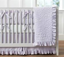 Pottery Barn Kids Ruffle Baby Bedding 3 Pc Set Quilt Sham & Sheet New Lavender