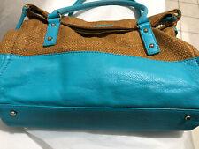 Kate Spade Turquoise Straw &  Leather Foldover Shoulder Bag